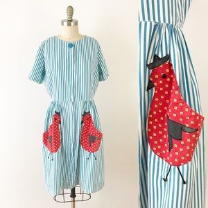 1950s Chicken Pocket Striped Cotton Dress U878
